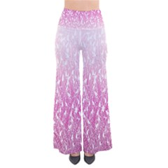 Pink Ombre Feather Pattern, White, Pants
