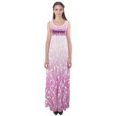Pink Ombre Feather Pattern, White, Empire Waist Maxi Dress