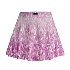 Pink Ombre Feather Pattern, White, Mini Flare Skirt