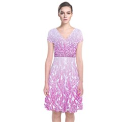 Pink Ombre Feather Pattern, White, Wrap Dress