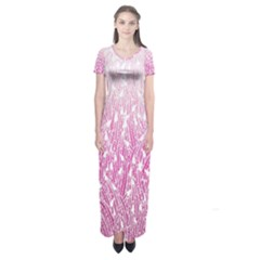 Pink Ombre Feather Pattern, White, Short Sleeve Maxi Dress