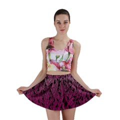 Pink Ombre Feather Pattern, Black, Mini Skirt