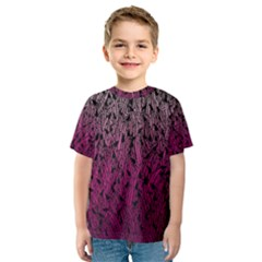 Pink Ombre Feather Pattern, Black, Kid s Sport Mesh Tee