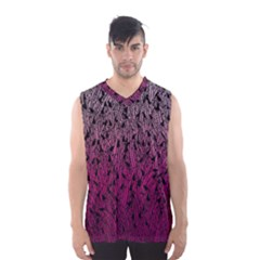 Pink Ombre Feather Pattern, Black, Men s Basketball Tank Top