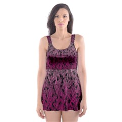 Pink Ombre Feather Pattern, Black, Skater Dress Swimsuit