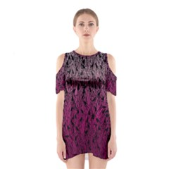 Pink Ombre Feather Pattern, Black, Cutout Shoulder Dress