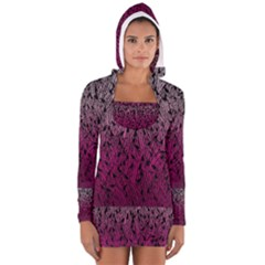 Pink Ombre Feather Pattern, Black, Women s Long Sleeve Hooded T Shirt