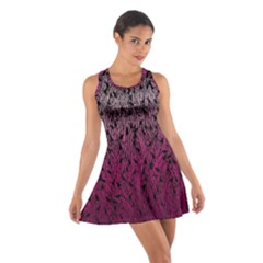 Pink Ombre Feather Pattern, Black, Racerback Dresses