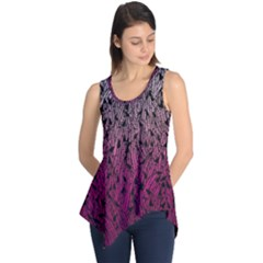 Pink Ombre Feather Pattern, Black, Sleeveless Tunic