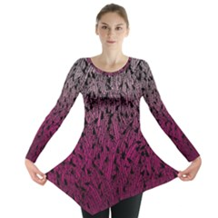 Pink Ombre Feather Pattern, Black, Long Sleeve Tunic
