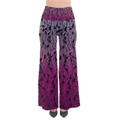 Pink Ombre Feather Pattern, Black, Pants