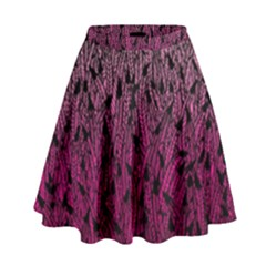 Pink Ombre Feather Pattern, Black, High Waist Skirt