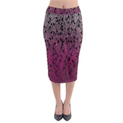 Pink Ombre Feather Pattern, Black, Midi Pencil Skirt