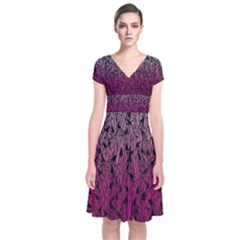 Pink Ombre Feather Pattern, Black, Wrap Dress