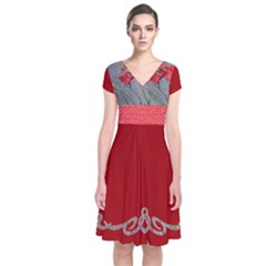 Red Flowers Short Sleeve Front Wrap Dress