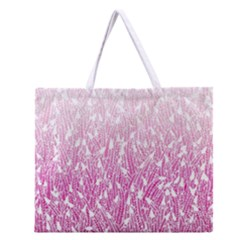 Pink Ombre Feather Pattern, White, Zipper Large Tote Bag