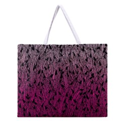 Pink Ombre Feather Pattern, Black, Zipper Large Tote Bag
