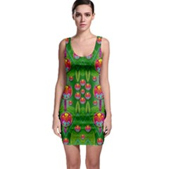 Orchid Forest Filled Of Big Flowers And Chevron Sleeveless Bodycon Dress