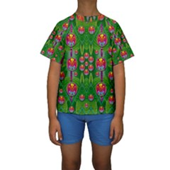 Orchid Forest Filled Of Big Flowers And Chevron Kid s Short Sleeve Swimwear