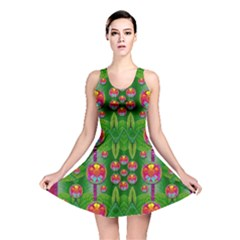 Orchid Forest Filled Of Big Flowers And Chevron Reversible Skater Dress