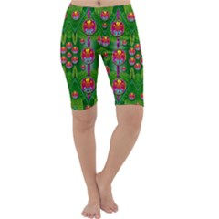 Orchid Forest Filled Of Big Flowers And Chevron Cropped Leggings