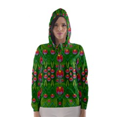 Orchid Forest Filled Of Big Flowers And Chevron Hooded Wind Breaker (Women)