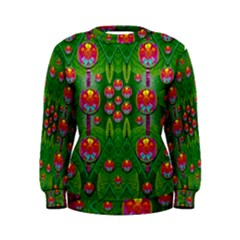 Orchid Forest Filled Of Big Flowers And Chevron Women s Sweatshirt