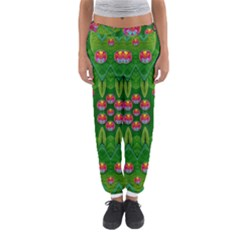 Orchid Forest Filled Of Big Flowers And Chevron Women s Jogger Sweatpants