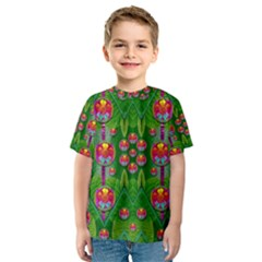 Orchid Forest Filled Of Big Flowers And Chevron Kid s Sport Mesh Tee