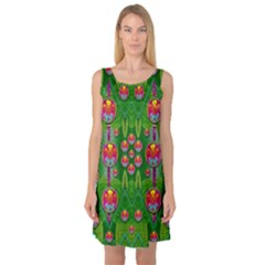Orchid Forest Filled Of Big Flowers And Chevron Sleeveless Satin Nightdress