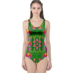 Orchid Forest Filled Of Big Flowers And Chevron One Piece Swimsuit