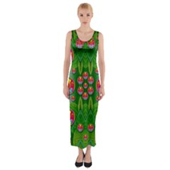 Orchid Forest Filled Of Big Flowers And Chevron Fitted Maxi Dress