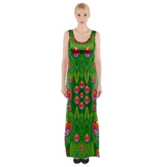 Orchid Forest Filled Of Big Flowers And Chevron Maxi Thigh Split Dress