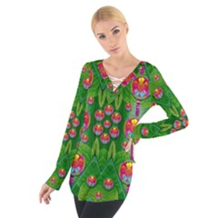 Orchid Forest Filled Of Big Flowers And Chevron Women s Tie Up Tee