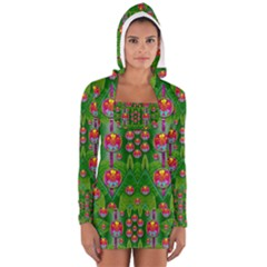 Orchid Forest Filled Of Big Flowers And Chevron Women s Long Sleeve Hooded T-shirt