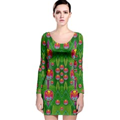 Orchid Forest Filled Of Big Flowers And Chevron Long Sleeve Velvet Bodycon Dress