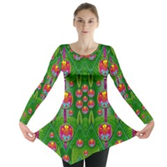 Orchid Forest Filled Of Big Flowers And Chevron Long Sleeve Tunic