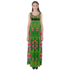 Orchid Forest Filled Of Big Flowers And Chevron Empire Waist Maxi Dress