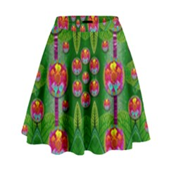 Orchid Forest Filled Of Big Flowers And Chevron High Waist Skirt
