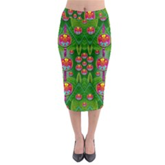 Orchid Forest Filled Of Big Flowers And Chevron Midi Pencil Skirt