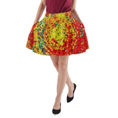 Downtown In Red22 A-Line Pocket Skirt
