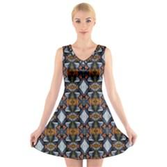 Stones Pattern V-Neck Sleeveless Skater Dress