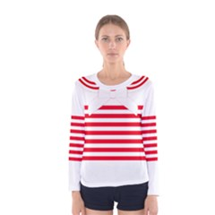 Red and White Striped Pattern LS WAO Print Tee Women s Long Sleeve Tee