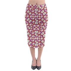 Boho Check Midi Pencil Skirt