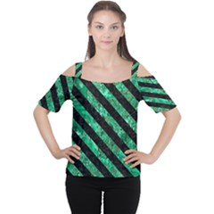 Stripes3 Black Marble & Green Marble (r) Cutout Shoulder Tee