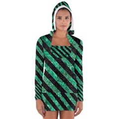 Stripes3 Black Marble & Green Marble (r) Long Sleeve Hooded T Shirt