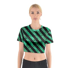 Stripes3 Black Marble & Green Marble (r) Cotton Crop Top