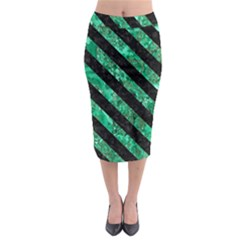 Stripes3 Black Marble & Green Marble (r) Midi Pencil Skirt