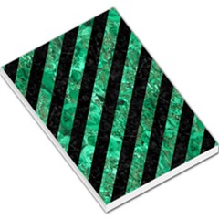 Stripes3 Black Marble & Green Marble Large Memo Pads