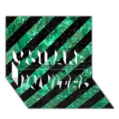 Stripes3 Black Marble & Green Marble You Are Invited 3d Greeting Card (7x5)